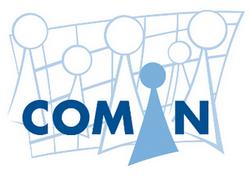 Logo della cooperativa sociale COMIN; bambini stilizzati con scritta COMIN in blu