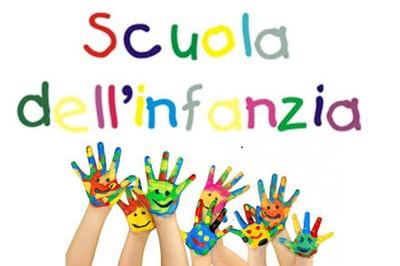 scritta scuola dell'infanzia con mani di bambini dipinte