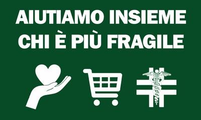 """scritta """"aiutiamo insieme chi è più fragile"""" su fondo verde e immagini di mano con cuore, carrello spesa, simbolo farmacia"""