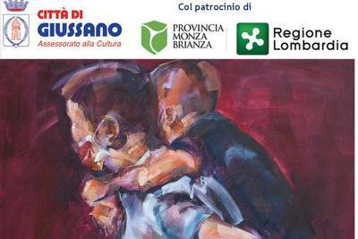 stralcio volantino dell'iniziativa: un'opera della pittrice (uomo con un bambino sulle spalle)