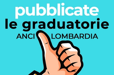 """mano stilizzata con pollice alzato su sfondo azzurro con scritta """"pubblicate le graduatorie Anci Lombardia"""""""