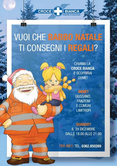 locandina dell'iniziativa con immagine di babbo natale con tuta da soccorritore e in braccio una bambina