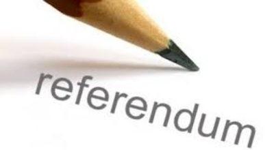 immagine con matita e scritta referendum