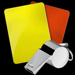 immagine con cartellini giallo e rosso e con fischietto
