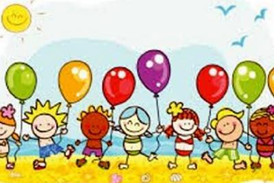 bambini stilizzati con in mano palloncini colorati