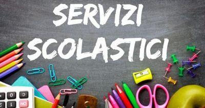 scritta servizi scolastici con oggetti di cancelleria