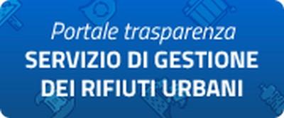 scritta Portale trasparenza Servizio di Gestione dei Rifiuti Urbani su fondo blu