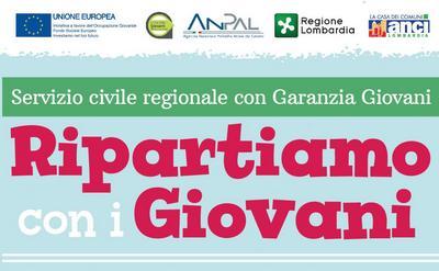 """scritta """"Servizio civile regionale con Garanzia Giovani"""" - Ripartiamo con i Giovani"""