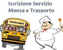 immagine con scuolabus e cuoco con cappello e cucchiaio