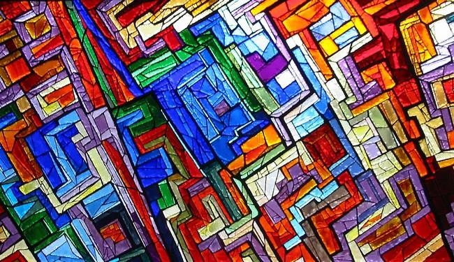 Particolare della vetrata dedicata alla matematica e all'astrattismo; rappresenta delle forme astratte di vari colori