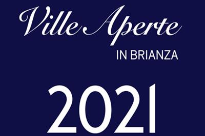 logo dell'iniziativa. Scritta biancaVille Aperte in Brianza 2021 su sfondo blu