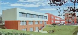 Rendering della nuova ala dell'edificio scolastico