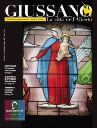 Particolare vetrata raffigurante Madonna con bambino