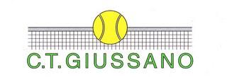 Logo del circolo tennis giussano formato da una rete di colore grigio ed una pallina da tennis di colore giallo, sotto la scritta ctgiussano di colore verde