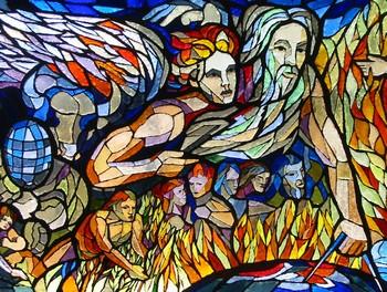 Particolare della vetrata dedicata al progresso; rappresenta un Dio creatore o un uomo di scienza che traccia sul globo terrestre dei segni con un compasso