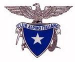 Logo del Cai rappresentato da uno scudo di colore blu con al centro una stella di colore bianco, ormontato da un'aquila con le ali aperte.
