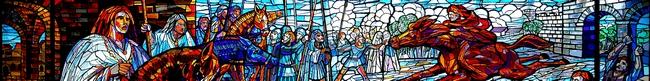 vetrata denominata il Parlamento, rappresenta il Console Gherardo a cavallo, un cavaliere rosso, sullo sfondo una basilica romanica e sul lato destro uno squarcio della porta milanese