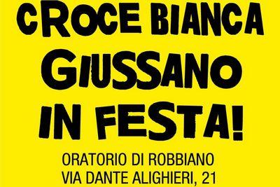 scritta CROCE BIANCA GIUSSANO IN FESTA, oratorio di Robbiano Via Dante Alighieri 21