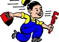 idraulico stilizzato nell'intento di correre a risolvere un guasto