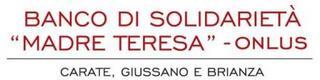 Logo del banco di solidarietà madre teresa  onlus rappresentato dalla scritta in colore rosso, sotto la riga di colore grigio la scritta carate giussano e brianza in colore nero
