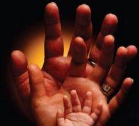 tre mani in ordine di grandezza messe una dietro l'altra