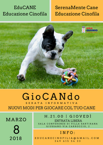 Locandina dell'iniziativa con immagine di cane su un prato verde