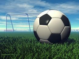 immagine di una palla da calcio, sullo sfondo una rete da calcio