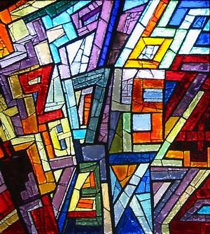 Particolare della vetrata dedicata alla matematica, rappresenta dei numeri