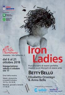 """Locandina della mostra con disegno di donna di profilo e titolo della mostra """"iron ladies"""""""
