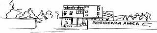Il logo rappresenta il disegno stilizzato della casa di Riposo Residenza Amica fatto con tratti di penna nera con la scritta residenza amica sul lato destro