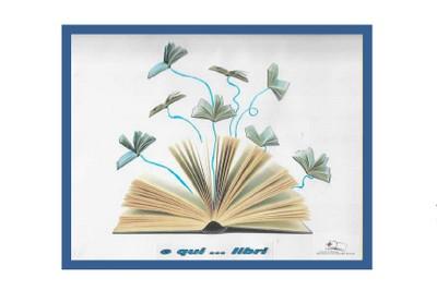 disegno un libro con scritta E qui...libri