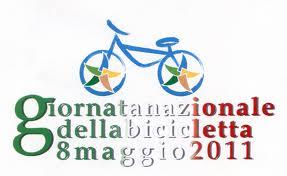 """logo dell'iniziativa; bicicletta stilizzata e sotto scritta """"giornata nazionale della bicicletta 8 maggio 2011"""""""