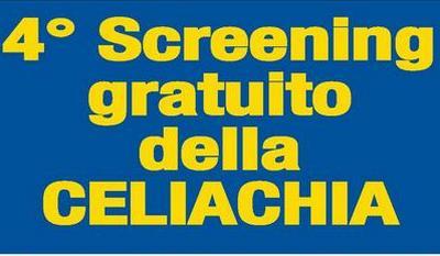 """scritta in giallo """"4° Screening gratuito della celiachia"""" in giallo su fondo blu"""