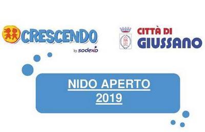 scritta NIDO APERTO 2019 con logo comune e logo Crescenso