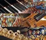 logo del concorso strumentistico che riproduce strumenti musicali e sullo sfondo particolari delle vetrate della sala consiliare