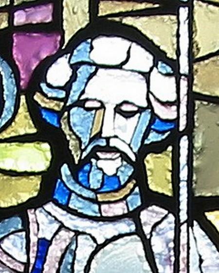 Particolare della vetrata dedicata a Fra Giovanni; volto di Gian Galeazzo Visconti