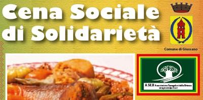 """stralcio di locandina con scritta: """"cena sociale di solidarietà"""" e logo dell'associazione"""
