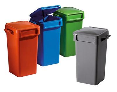 disegno di varie tipologie di raccoglitori per rifiuti