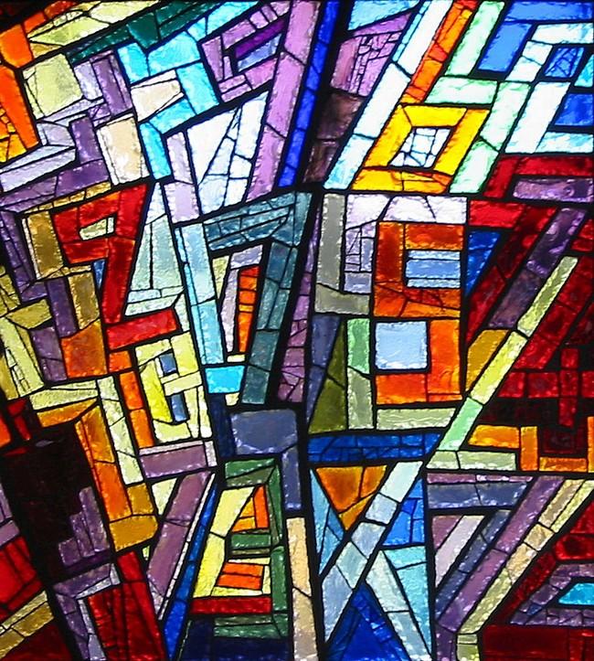 Particolare della vetrata dedicata alla matematica e all'astrattismo; rappresenta dei numeri stilizzati di diversi colori